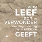 Wandbord M: Zing, Leef, Lach En Verwonder