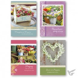 Get well cards garden floral set4