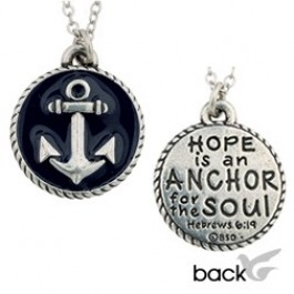 Round pendant with anchor - Necklace 45 cm