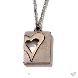 Rectangle with cutout Heart (Silvercolored Pated Necklaces) 46 cm