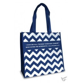 I can do all thing - Navy and white Reusable shopping bag - 30 x 30 x 15 cm
