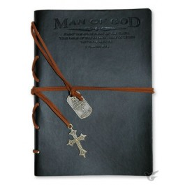 Man of God - Black Faux Leather journal with gold gilding