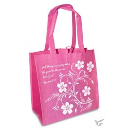 All things work together - Pink and white Reusable shopping bag - 30 x 30 x 15 cm