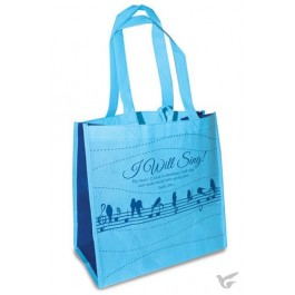 I will sing - Sky blue and navy Reusable shopping bag - 30 x 30 x 15 cm