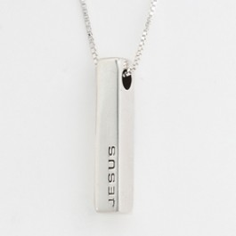 Jesus - Block (Sterling Silver necklace)