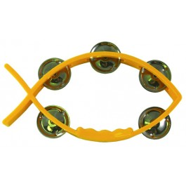 Tambourine Yellow - Fish shaped 11 X 20 cm - With 5 pairs of cymbals