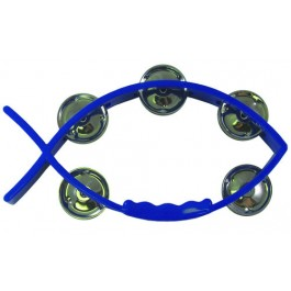 Tambourine Blue - Fish shaped 11 X 20 cm - With 5 pairs of cymbals