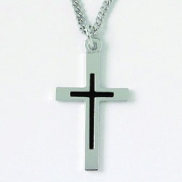 Cross - Smooth with epoxy fill (Silver colored necklace)