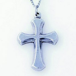 Cross - Traditional Beveled (Pewter necklace)
