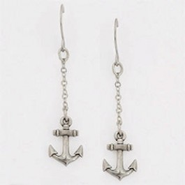 Surgical steel wire earrings - Anchor cross