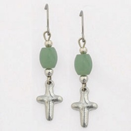 Surgical steel wire earrings - Puffy cross with bead
