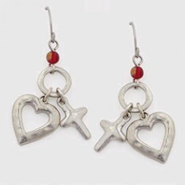 Surgical steel wire earrings - Hammered heart and cross