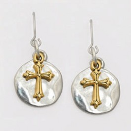 Surgical steel wire earrings - Two-tone cross on disk