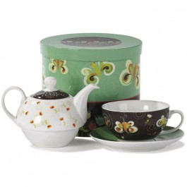 A cheerful heart has a continual feast - Tea For One 3-piece Porcelain Tea Set in Gift Box