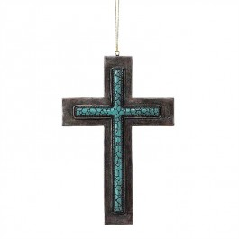 Bronze/Turquoise with hanger - Wall Cross - 17 cm