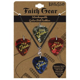 Pick Jesus - Leather corded (Interchangeable Guitar Pick Necklace)  :  , 612978255407