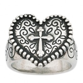 Heart with cross - Large - Ladies ring  :  , 637955070156