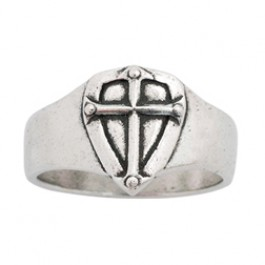 Shield with cross - Large - Mens ring  :  , 637955070187