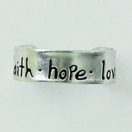 Faith Hope Love (Sterling silver toe ring)