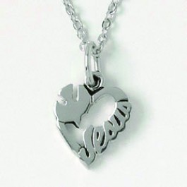 Heart with dove and Jesus (Silver colored necklace)