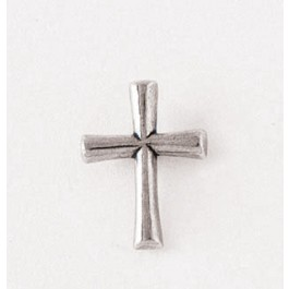 Pewter Pin - Ansteker Kreuz silberfarben Round Flared Cross, Pewter Pin
