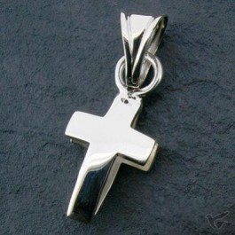 Silver pendant cross rounded