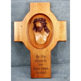 Kruis hout 37cm crucifix by His wounds