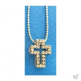 Necklace crystal cross white