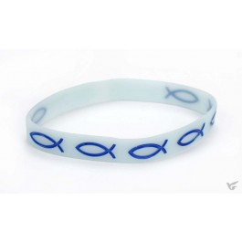 Armband vis blauw rubber