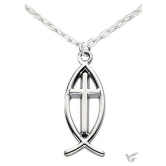 Ichthus fish with cross - Silvertone nec