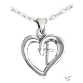Heart with cross - Silvertone necklace