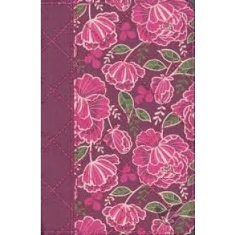 Quilted Collection Compact Bible Burgundy - Floral - Flexcover