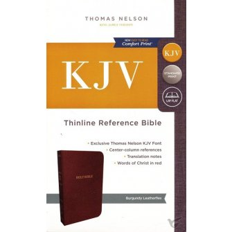 KJV, Thinline Reference Bible, Leather-Look, Burgundy, Red Letter Edition