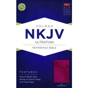 NKJV UltraThin Reference Bible Pink - LeatherTouch