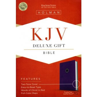 KJV Deluxe Gift Bible, Purple/Teal Leathertouch