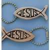 Keychain wooden fish/Jesus set 12