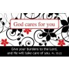 God cares for you (25) Pass Around Card - 8x5cm