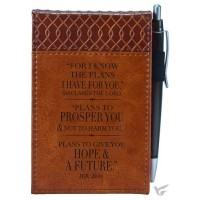 For I know the plans - Brown, LuxLeather Pocket Notepad 7,5 x 12.5 cm