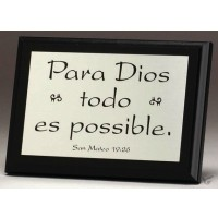 Para Dios todo es possible - Tabletop Decor - 12 x 17 cm (2 pieces) With God all things are possible (Spanish)