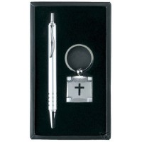Pen with Keyring - Black engraved cross :   Giftset, 603799179607