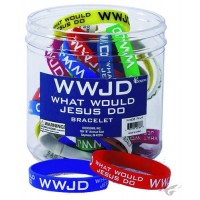 W.W.J.D. - Silicone Bracelet Assorted Colors (1 piece/St