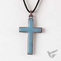Enamel Cross Necklace - Blue