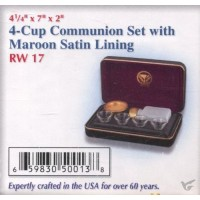 4-Cup-Set Communion Set with Maroon Sati