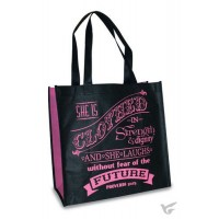 Proverbs 31:25 - Black and pink Reusable shopping bag - 30 x 30 x 15 cm