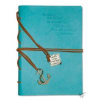 We have this hope as an anchor - Aqua Faux Leather journal with gold gilding