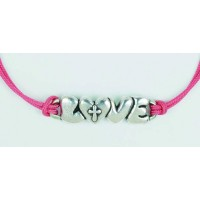 Love With Cross - Pink - Leadfree pewter : Adjustable cord bracelet, 637955057805