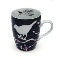 White Birds On Brown Mug