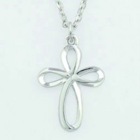 Cross Silver Ribbon (Silver colored necklace)