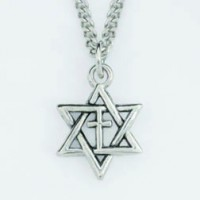Star of David with Cross :   Necklace - Rhodium plated, 637955059991