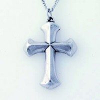 Cross - Smooth Angled (Pewter necklace)